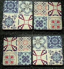 NEW Set of 4 Ceramic Tiles Vintage Moroccon kaleidoscope mix kitchen bathroom