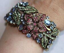 WOW! HEIDI DAUS Pink Blue Green Swarovski Crystal Bead FLOWERS Clamper Bracelet