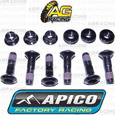 Apico Black Rear Sprocket Bolts Locking Nuts Set For Kawasaki KX 450F 2012 MotoX