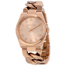 Michael Kors Channing Rose Dial Rose Gold-plated Twist Ladies Watch MK3414