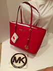 MICHAEL KORS Small Jet Set Red Saffiano Travel Tote Bag FREE SHIPPING