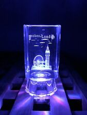 London 3D Skyline Crystal Glass Paper Weight Showpiece With Lights Souvenir Gift