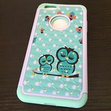 iPhone 6+ / 6S+ Plus Hybrid Armor Diamond Bling Skin Case Cover Mint Green Owls