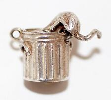 Vintage Sterling Silver Bracelet Charm Trash Can With Moving Cat (3.9g)