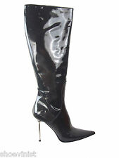 """Renzi Made In Italy Gray Patent Stiletto Leather Boots EU 39 Shoes Heels 4 1/4"""""""""""
