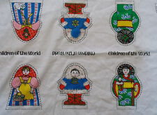 """Colorful Children Of The World Doll Fabric Panel 5 Dolls 6"""" Tall Springs Mill"""