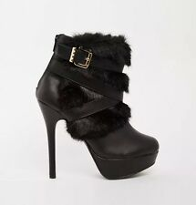 New Look Black Faux Fur Multi Strappy Shoe Ankle Boots   UK 7