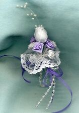 BARBIE DOLL BRIDE BOUQUET - WHITE & LAVENDER ROSES LACE PEARLS & RIBBON LINHILL