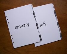 A5 Monthly 12 MONTH DIVIDERS - 'Black & White' #685 - Fits FILOFAX