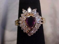 *ESTATE*NATURAL RED RUBY & .90ctw DIAMOND COCKTAIL RING 14K YELLOW GOLD sz4 GIFT