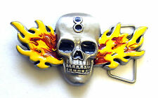 Gürtelschnalle Skull and Flames Buckle Totenkopf Flammen Metall Flammen Bike