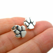 Paw Print 925 Sterling Silver Animal Lover Dog Cat Stud Earrings