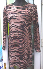 Boohoo.com Animal Print Manga Larga muslo longitud Casual Top-Talle 12
