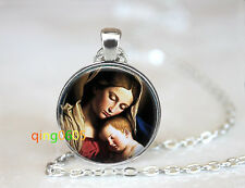 Mother Mary and baby Jesus Tibet silver Chain Pendant Necklace wholesale