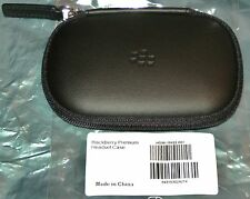 Genuine BlackBerry HEADSET / ACCESSORY CASE ZIPPED  BLACK HARD LEATHER HDW-18422