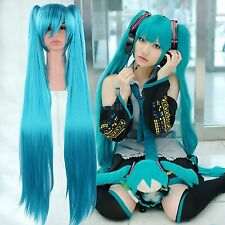 Long Blue Vocaloid Hatsune Miku Anime Cosplay Party Full wig Hair with Ponytails