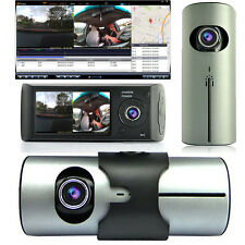 "Dash Cam 2.7"" TFT LCD Dual Camera Lens Car DVR Gravity Sensor GPS Tracker - NEW"