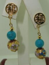 PRETTY CHINESE GOOD LUCK SYMBOL, BLUE GLASS & WEDDING CAKE BEAD DANGLE EARRINGS