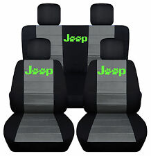 Front&Rear Black-Charcoal SeatCovers Lime Pawprint 2Door Jeep Wrangler 2011-2016