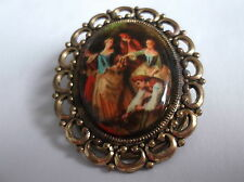 Portrait Of People Scarf Ring With Gold Coloured Back & Edge