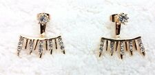 Yellow Gold Plated Ear Jacket Double Sided Crystal Stud Earrings!! #4