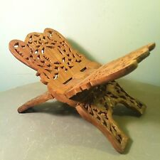 Vintage Intricate Carved Shesham Wood Bible ~ Book Holder , Rest By SA