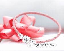 Pandora Pink Single Strand Leather Woven Cord Charm Bracelet (6.9 inch)