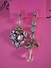 """BETSEY JOHNSON """"HANGING HEARTS BOOST"""" CRYSTAL HEART & BOW MISMATCH EARRINGS~NWT"""