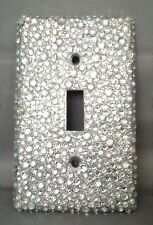 BLING SILVER GLITTER-CLEAR AB RHINESTONE SINGLE TOGGLE LIGHT SWITCH COVER PLATE