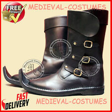 Medieval Leather Boots Brown Re-enactment Mens Larp Role-Play Costume Boot A84