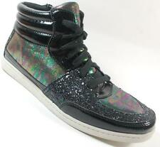NEW Girls Youth CANDIES JORY Black Sparkle  Lace Zip Hi Top Sneakers Shoes SZ 3