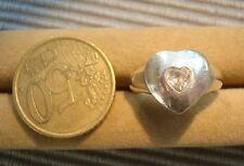 V2 Bague argent massif 925  vintage bijou lot coeur oxyde zyrconium diamant