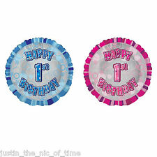 "HELIUM 18"" Foil Balloon 1st-18th Happy Birthday Party Balloons Pink & Blue"