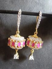 Indian Earrings Gold Silver Plated Cubic Zirconia AD Ruby Dangler Hook Set