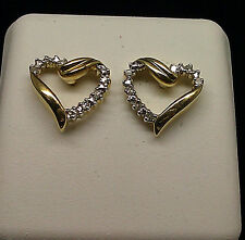 10K Yellow Gold Polished Heart Earring with 0.09CT Diamond
