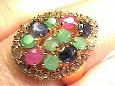 SAPPHIRE EMERALD SILVER RING 9 ruby WHITE GOLD STERLING CLUSTER NATURAL REAL