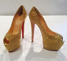 NIB**CHRISTIAN LOUBOUTIN**Highness Gold Strass Crystal Heels**EU 37; US 7**$6395