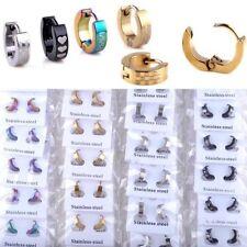 10 Pairs Wholesale Mix Lots Punk Stainless Steel Earrings Hoop Huggie Ear Stud