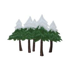 ID 3167 Snow Capped Pine Trees Embroidered Iron On Applique Patch