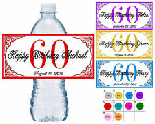 50 ~ 60th BIRTHDAY PARTY WATER BOTTLE LABELS ~ waterproof ink ~ assorted colors