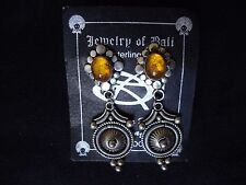 VINTAGE HANDCRAFTED BALI STERLING SILVER AMBER DANGLE STUD EARRINGS 1970-80s