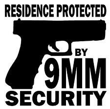 RESIDENCE PROTECTED BY 9MM SECURITY Vinyl Decal Sticker Window Home Defense Gun