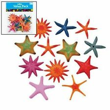 12 Colorful Plastic Starfish Assortment Hawaiian Luau Tropical Beach Party Decor