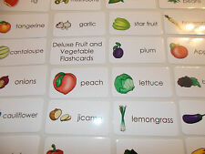Deluxe Fruit and Vegetable Laminated Flashcards.  Preschool-2nd Grade Nutrition.