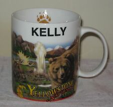 Yellowstone National Park KELLY Coffee Mug Cup 10 Oz Bear Moose Deer Eagle #DH74