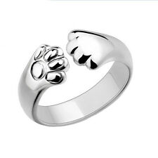 Cute Women Cat Paw Claw Open Ring Silver Plated Finger Ring Animal Jewelry DIS
