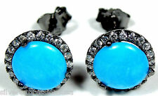 6mm American Sleeping Beauty Turquoise 925 Sterling Silver  Earrings