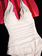 VICTORIA'S SECRET Premium Sexy Ruched Halter Shaping One Piece Swimsuit White XS