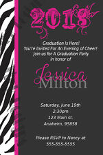 Hot Pink and Zebra animal print Graduation Party birthday invitations favor