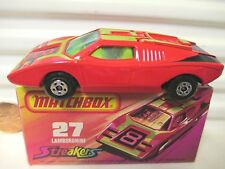 LESNEY MATCHBOX MB27B RED LAMBORGHINI COUNTACH GRN Wins YEW Int CHARCOAL Base MB